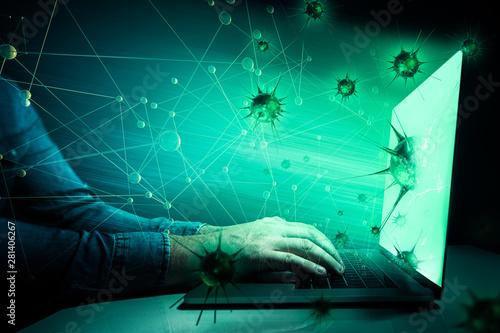 Fotografie, Obraz Computer - Virus - Angriff