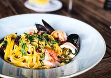 Fresh Italian Pasta With Seafood - Spaghetti, Tagliatelle And Fresh Fusilli