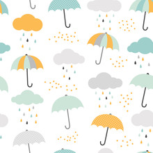 Cute Vector Pattern With Umbrellas, Clouds And Rain Drops. Scandinavian Style Seamless Background.