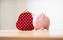 豚の貯金箱と財布