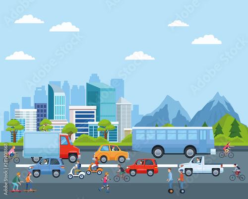 Fotografía  City transportation and mobility cartoons