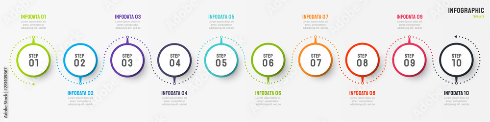 Fototapety, obrazy: Business infographic design vector with circle element. Timeline with 10 step, option, process. Process chart. Can be used for presentations.