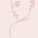 Ciągła linia, rysunek twarzy kobiety, koncepcja mody, minimalistyczna uroda kobiety, ilustracji wektorowych na t-shirt, slogan projektowania stylu grafiki drukowanej. Ilustracja moda jednej linii - 281409803