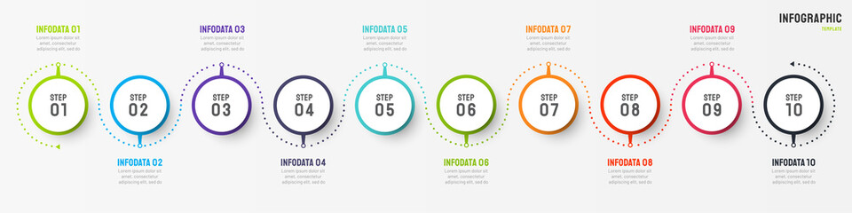 Business infographic design vector with circle element. Timeline with 10 step, option, process. Process chart. Can be used for presentations.