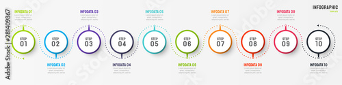 Fototapeta Business infographic design vector with circle element. Timeline with 10 step, option, process. Process chart. Can be used for presentations. obraz