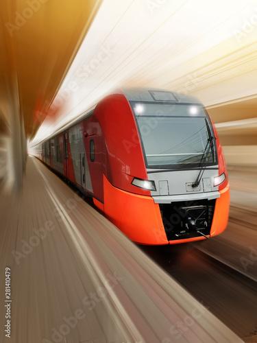 high-speed red passenger tr...