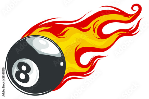 Tela Vector illustration of billiards pool snooker 8 ball with simple flames