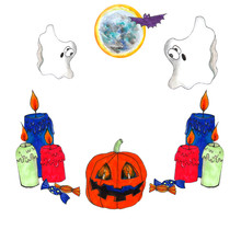 Halloween Watercolor Set Of Hand Drawn Elements. Halloween Orange Pumpkin, Burning Candles, Ghosts, Moon, A Bat, Sweets. Isolated Element On White Background For Card, Invitations And Holiday Design.