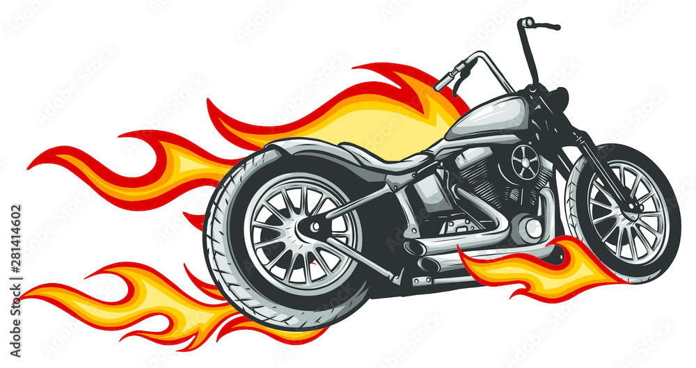 Fototapeta motorcycle with fire and flames vector illustration
