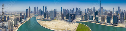 Aerial panorama view on downtown Dubai, UAE, on a summer day. Canvas Print
