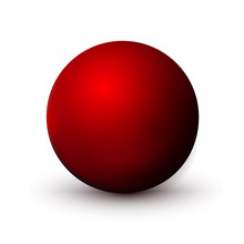 Red Sphere, Ball. Mock Up Of Clean Round The Realistic Object, Orb Icon. Design Decoration Round Shape, Geometric Simple, Figure Circle Form. Isolated On White Background, Vector Illustration