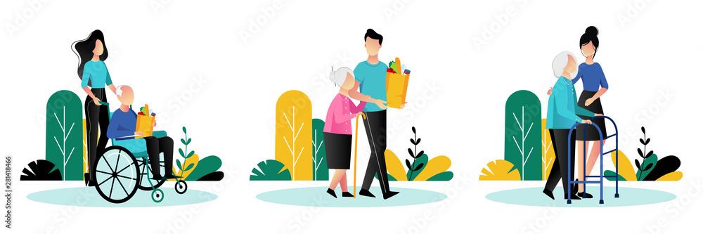 Fototapeta Social workers taking care about seniors people. Vector flat cartoon illustration. Volunteer people help elderly people.