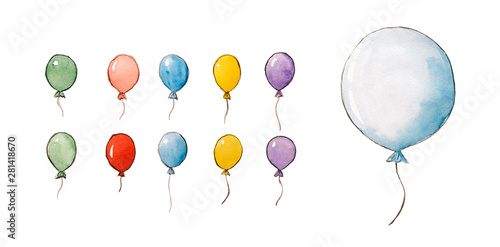Fototapeta  Set of watercolor hand drawn balloons on white isolated background