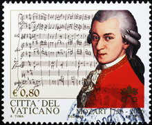 Portrait Of Mozart On Stamp Of...