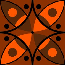 Abstract Pattern With Black And Orange Ornament. Seamless Vector Design.