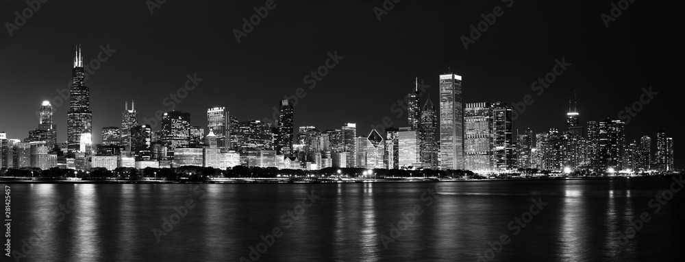 Fototapeta Chicago Skyline at Night Black and White