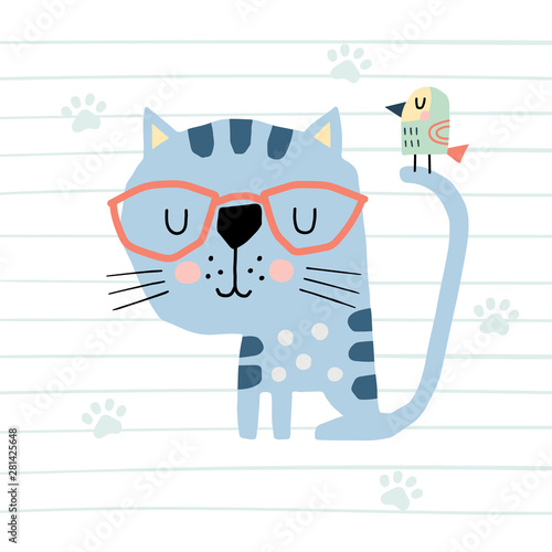 Obraz Cute cartoon cat and bird. Vector colorful illustration in a scandinavian style. Funny hand drawn poster. - fototapety do salonu