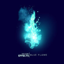 Mystical Blue Fire Flames Vector