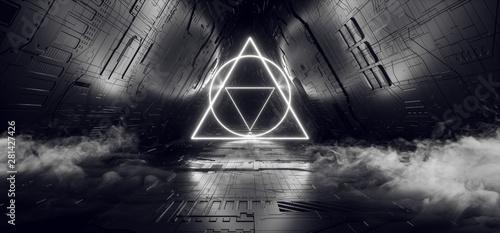 Photo  Smoke Triangle Shaped Neon Glowing Laser White Futuristic Sci Fi Modern Retro Al