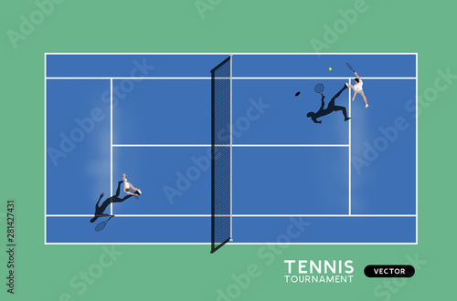 Obraz Men Playing Tennis On A Hard Court - fototapety do salonu