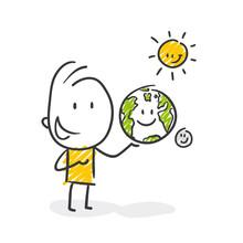 Strichfiguren / Strichmännchen: Erde, Sonne, Mond. (Nr. 445)
