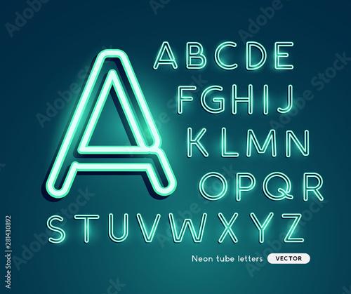 Obraz Glowing neon blue green letters alphabet. Vector illustration. - fototapety do salonu