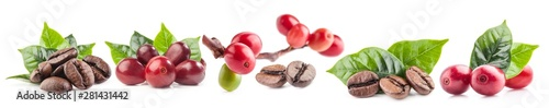Foto Collection of Red coffee beans isolated on white background
