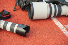 Proffesional Sport Photo Equipment, Digital Camera And Telephoto Lens