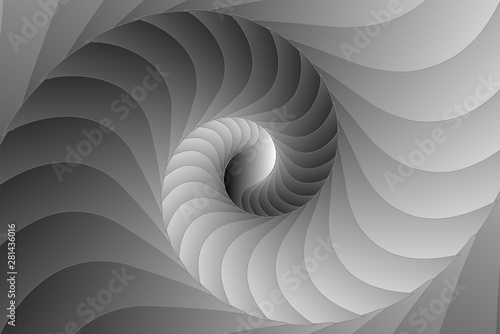 Infinite geometry fractal background of black and white spiral jigsaw puzzle Fotobehang