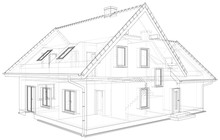 Perspective Wireframe Of House Exterior. Vector Created Of 3d