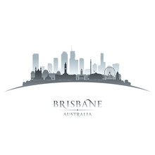 Brisbane Australia City Silhouette White Background