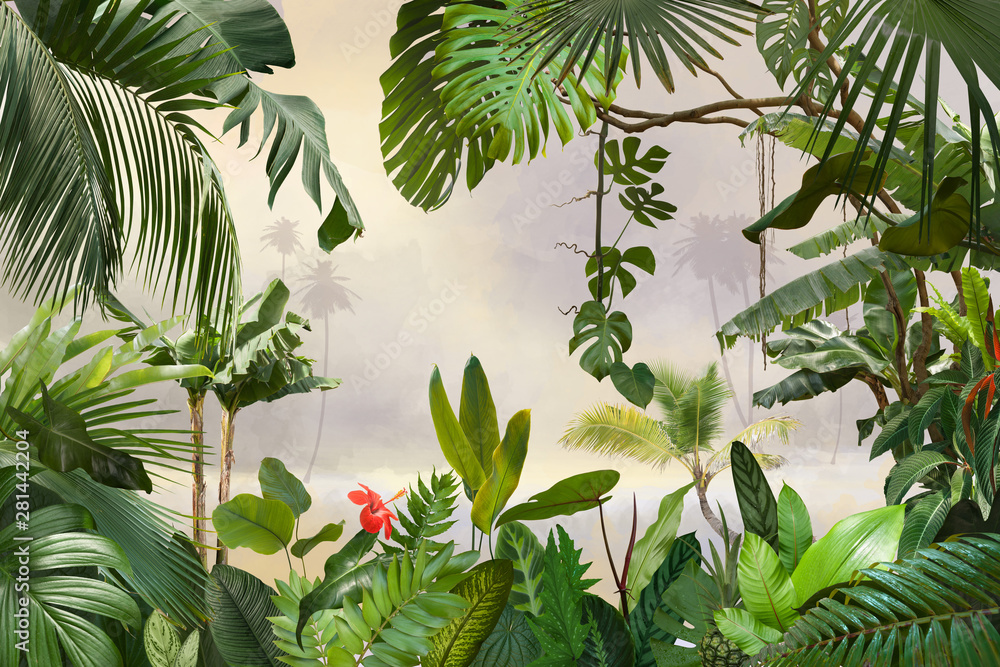 Fototapeta adorable background design with tropical palm and banana leaves, can be used as background, wallpaper