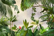 Leinwandbild Motiv adorable background design with tropical palm and banana leaves, can be used as background, wallpaper