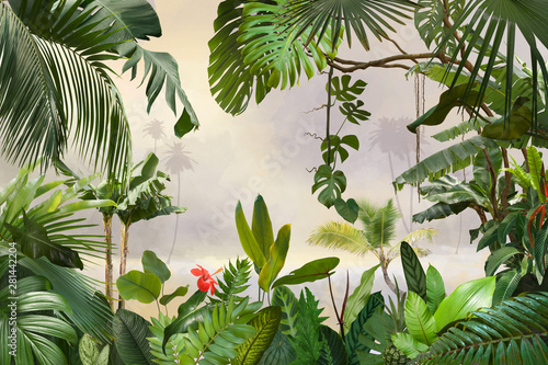 Платно adorable background design with tropical palm and banana leaves, can be used as