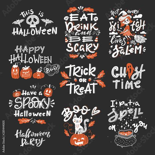 Valokuva  Halloween set of lements with handwritten lettering