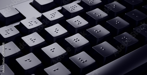 Photo Black Braille Keyboard. Accessible keys for blind people.