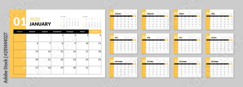 Cuadros en Lienzo Calendar for 2020 year in clean minimal table simple style