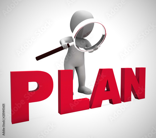 Poster Individuel Plan concept icon means preparation and organisation of a project - 3d illustration