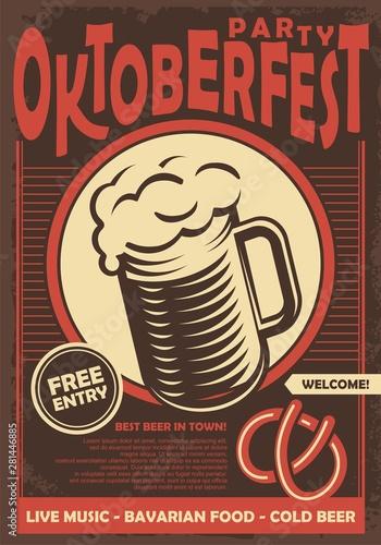Fototapeta Beer fest promotional poster design with glass of dark beer. Oktoberfest retro sign concept on old brown background. Vintage vector alcohol drinks illustration. obraz na płótnie
