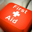Leinwandbild Motiv First aid kit for emergencies and medical assistance or treatment - 3d illustration