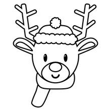 Vector Cartoon Cute Reindeer Emoji Isolated