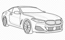 Vector Contour Car On Transpar...