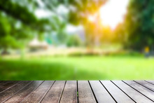 Empty Plank, Blurred Background, Green Garden For Placing  Products