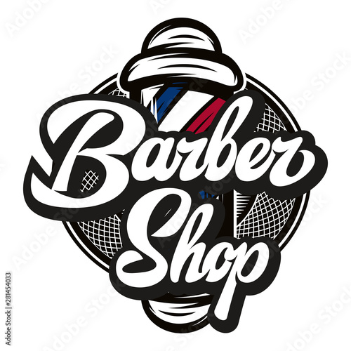 Vector illustration with barber pole and calligraphic inscription Wall mural