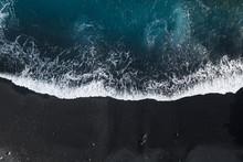 Plage Volcanique Sable Noir Drone île De La Palma Aux Canaries