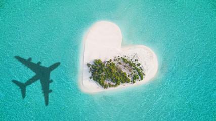 Tropical island in heart shape