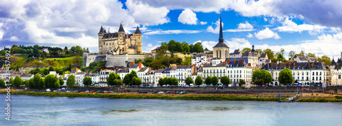 Great medieval castles of Loire valley - beautiful Saumur. Travel in France