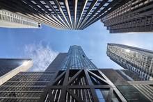 Vista Verso L'alto Dei Grattacieli Di New York