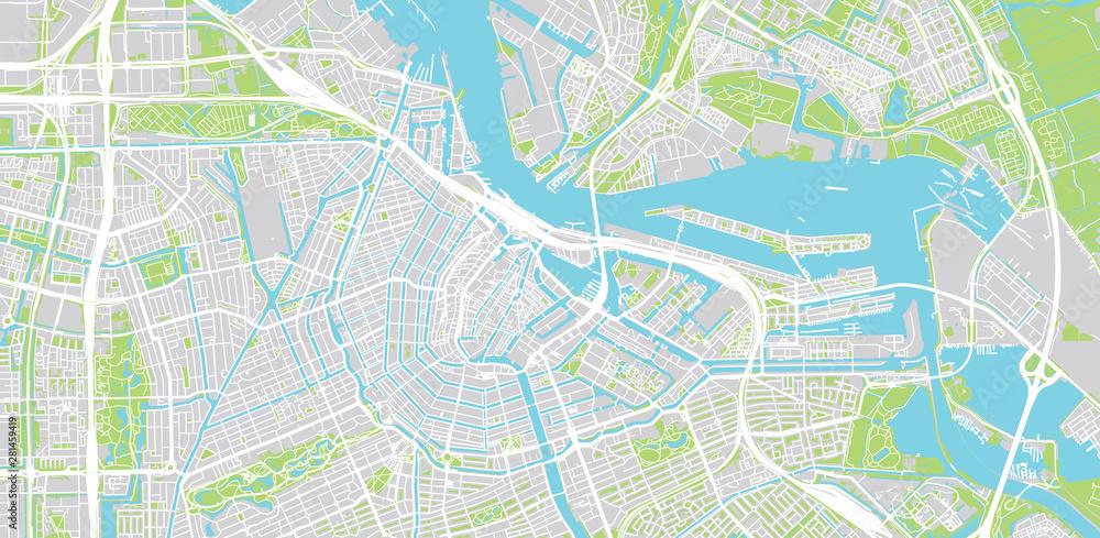 Miejska wektorowa mapa miasta Amsterdam, Holandia <span>plik: #281459419 | autor: ink drop</span>