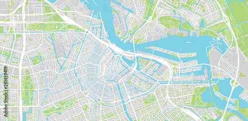 Photo  Urban vector city map of Amsterdam, The Netherlands